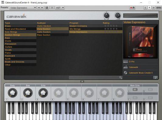 Cakewalk Sound Center 画面