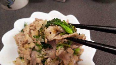 パクチーと豚小間肉の炒め物 実食