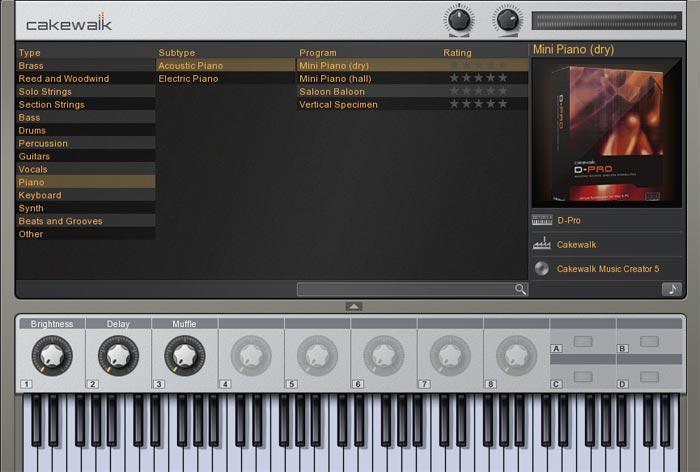 Cakewalk Sound Center画面 Mini Piano(dry)