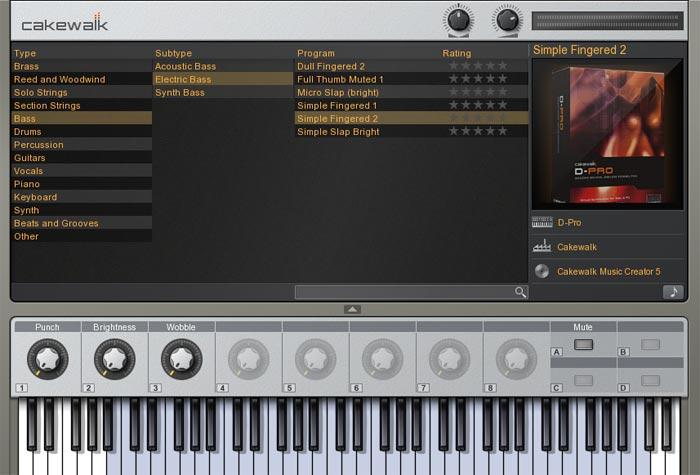 Cakewalk Sound Center画面 Simple Fingered2