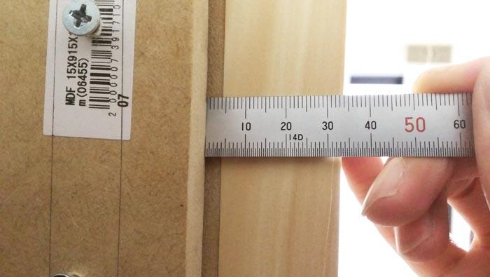 自作防音室扉の歪みチェック 上部スキマ4mm
