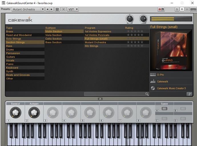 Cakewalk Sound Center 画面 Full Strings