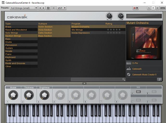Cakewalk Sound Center 画面 Mutant Orchestra