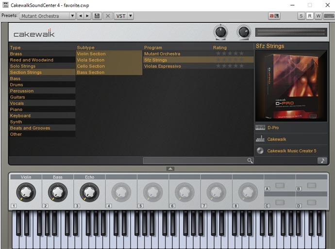 Cakewalk Sound Center 画面 Sfz Strings