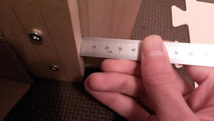 自作防音室下部 11月の歪みチェック 約6mm
