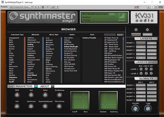 Synthmaster Player Free コントロールパネル