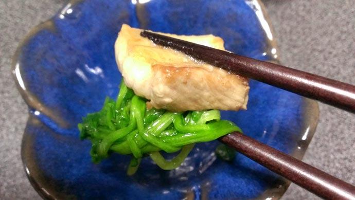 セリお浸しの豚バラ醤油あんかけ 実食