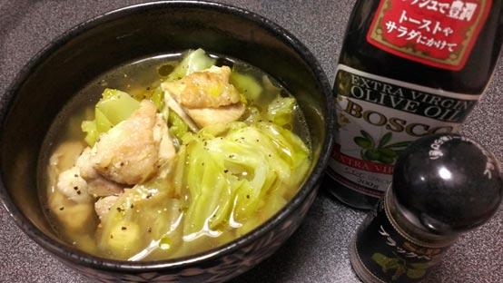焦がしキャベツと鶏のスープ