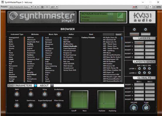 Synth Master Player Free コントロールパネル