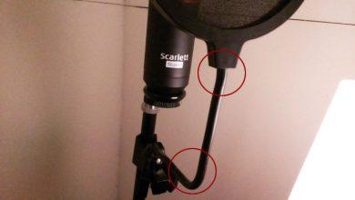 自作防音室内にコンデンサマイクCM25を設置