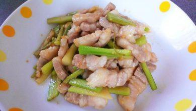 ウドと豚バラの油味噌炒め 完成!