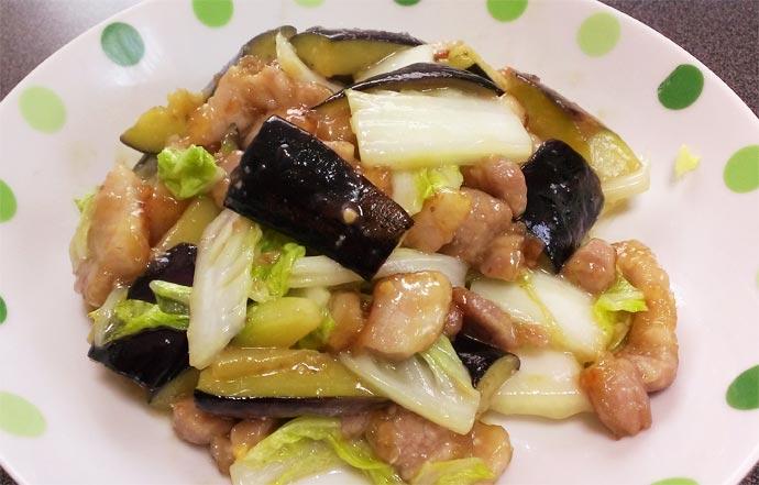 ナスと豚バラの油味噌(中華風)完成