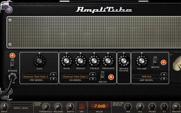 Amplitube 画面 American tube clean1