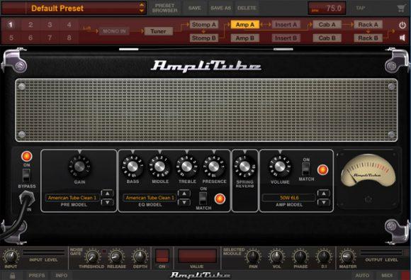 Amplitube画面 AmpAの設定