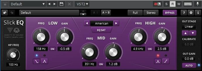 TDR VOS SlickEQの設定「American」