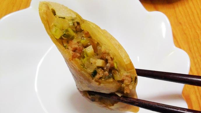 白菜と豚ひき肉とタケノコの春巻き 実食