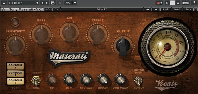 MASERATI VX1 コントロールパネル Sendモードで使用できないコントロールはグレーアウト表示される