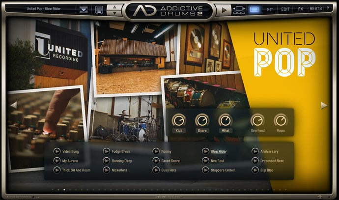 Addictive Drums2 United POPその2 プリセット「Slow-Rider」