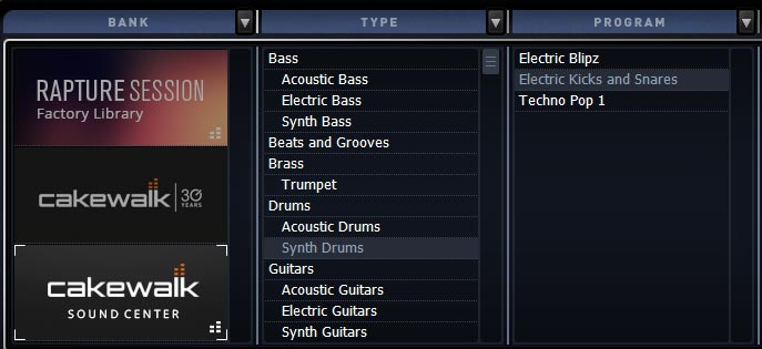 Cakewalk Sound Centerプリセット「Electric Kicks and Snares」